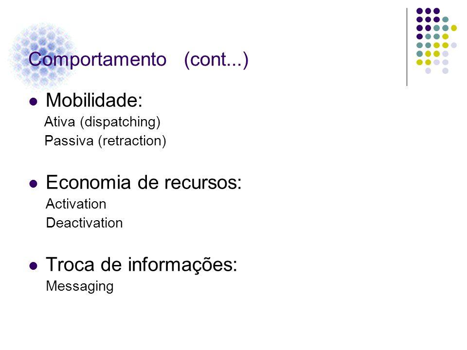 Comportamento (cont...) Mobilidade: Economia de recursos: