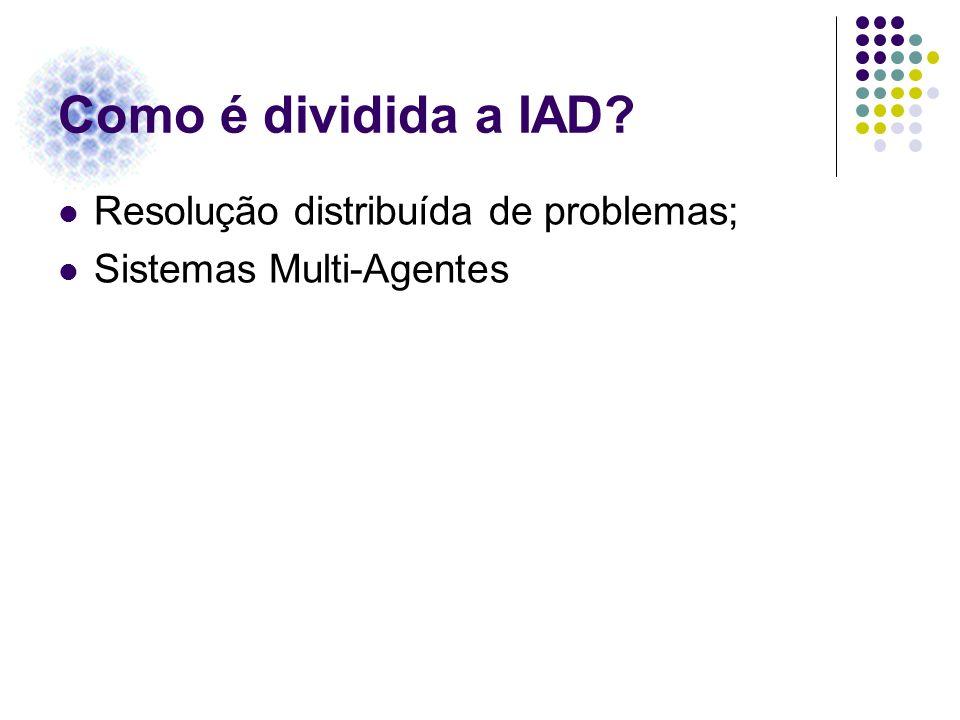 Como é dividida a IAD Resolução distribuída de problemas;
