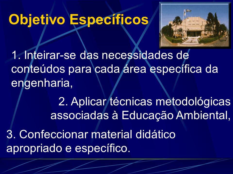 Objetivo Específicos 1. Inteirar-se das necessidades de conteúdos para cada área específica da engenharia,