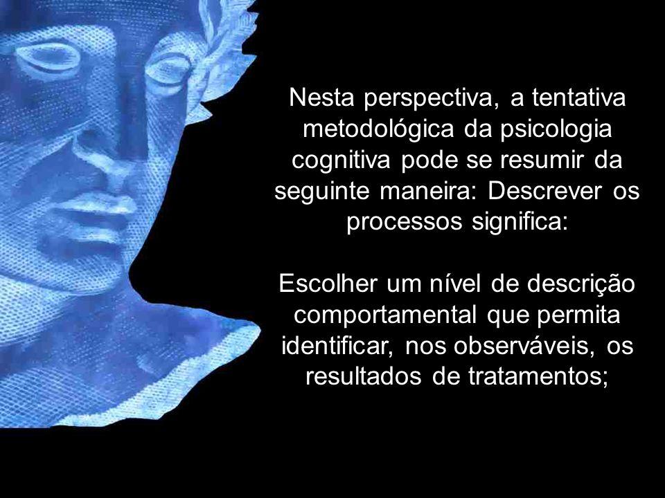 Nesta perspectiva, a tentativa metodológica da psicologia cognitiva pode se resumir da seguinte maneira: Descrever os processos significa: