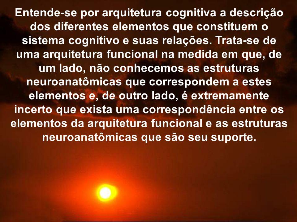 Entende-se por arquitetura cognitiva a descrição dos diferentes elementos que constituem o sistema cognitivo e suas relações.