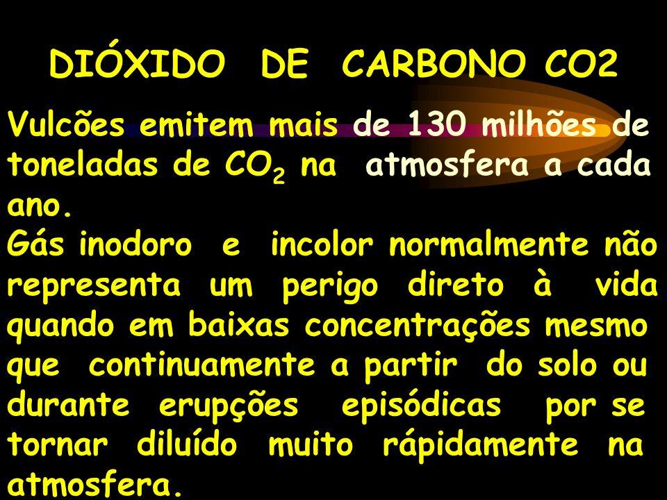 DIÓXIDO DE CARBONO CO2 Vulcões emitem mais de 130 milhões de toneladas de CO2 na atmosfera a cada ano.