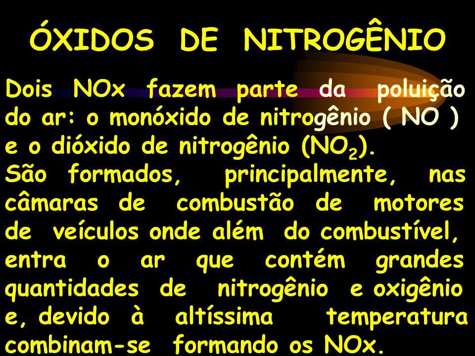 ÓXIDOS DE NITROGÊNIO Dois NOx fazem parte da poluição do ar: o monóxido de nitrogênio ( NO ) e o dióxido de nitrogênio (NO2).