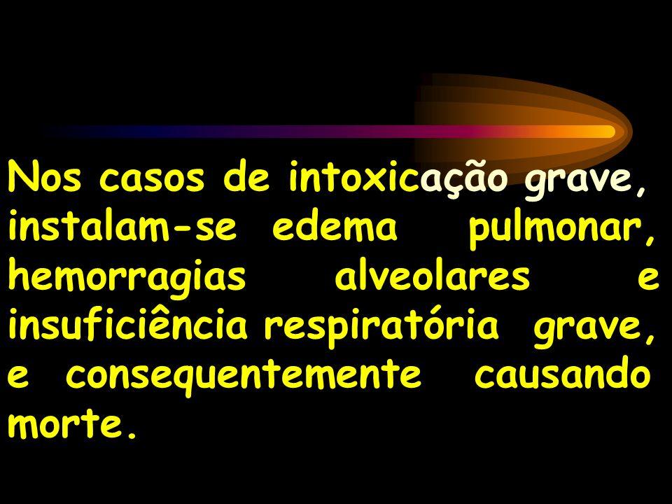Nos casos de intoxicação grave, instalam-se edema pulmonar, hemorragias alveolares e insuficiência respiratória grave, e consequentemente causando morte.