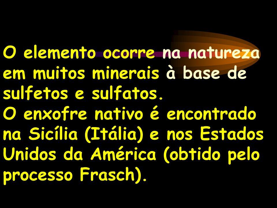O elemento ocorre na natureza em muitos minerais à base de sulfetos e sulfatos.