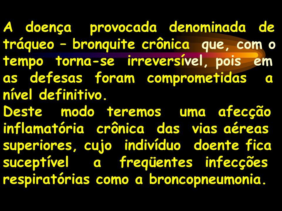 A doença provocada denominada de tráqueo – bronquite crônica que, com o tempo torna-se irreversível, pois em as defesas foram comprometidas a nível definitivo.