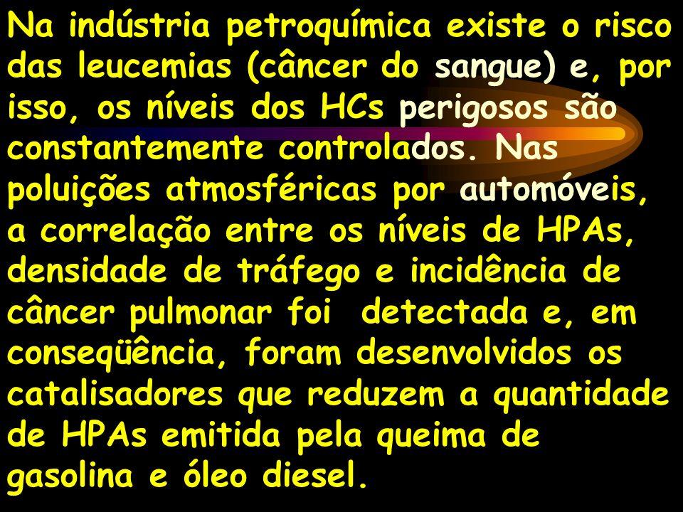 Na indústria petroquímica existe o risco das leucemias (câncer do sangue) e, por isso, os níveis dos HCs perigosos são constantemente controlados.