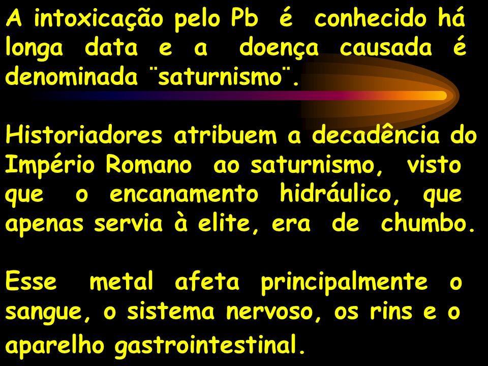 A intoxicação pelo Pb é conhecido há longa data e a doença causada é denominada ¨saturnismo¨.