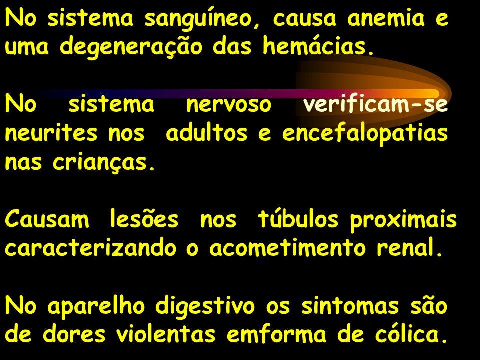 No sistema sanguíneo, causa anemia e uma degeneração das hemácias.