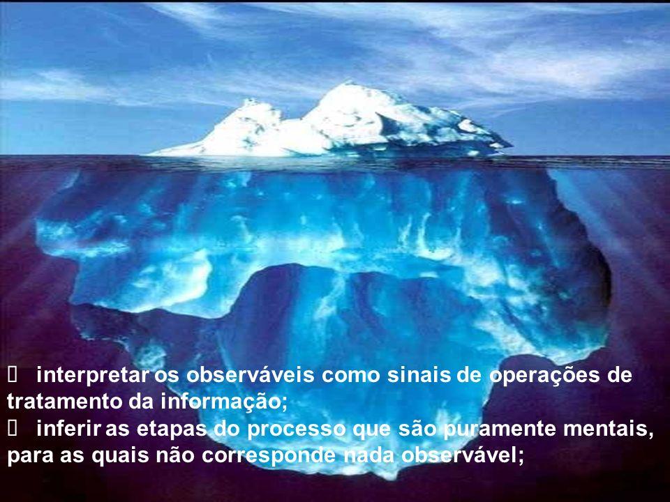 Ø interpretar os observáveis como sinais de operações de tratamento da informação;