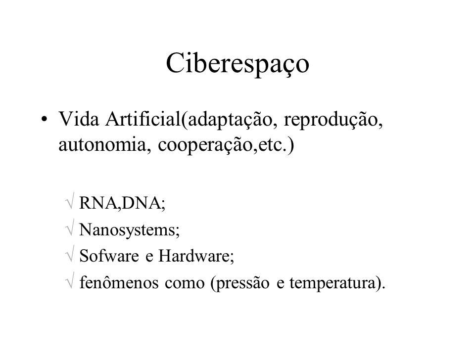 CiberespaçoVida Artificial(adaptação, reprodução, autonomia, cooperação,etc.) RNA,DNA; Nanosystems;