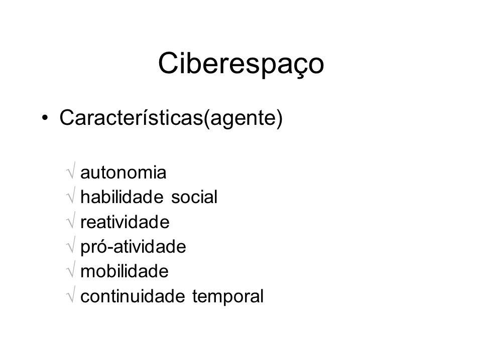 Ciberespaço Características(agente) autonomia habilidade social