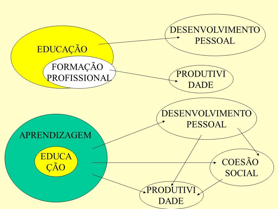 EDUCAÇÃO FORMAÇÃO. PROFISSIONAL. PRODUTIVI. DADE. DESENVOLVIMENTO. PESSOAL. EDUCA. ÇÃO. APRENDIZAGEM.