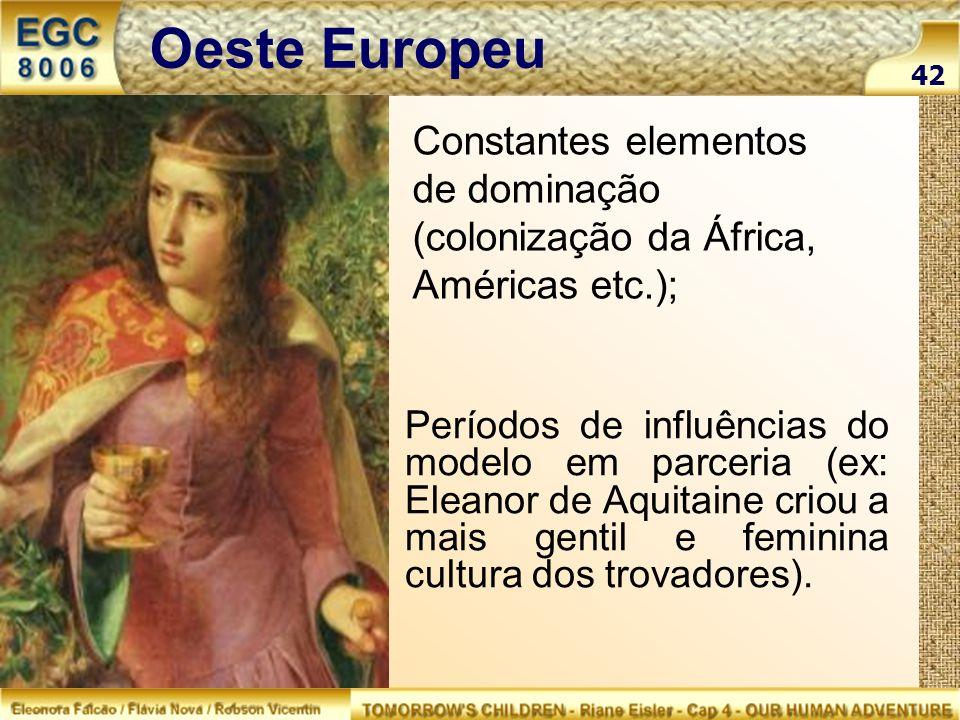 Oeste Europeu 42. Constantes elementos de dominação (colonização da África, Américas etc.);