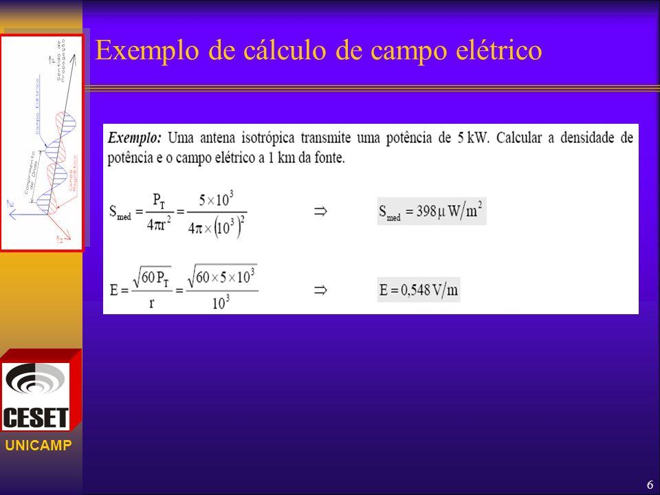 Exemplo de cálculo de campo elétrico