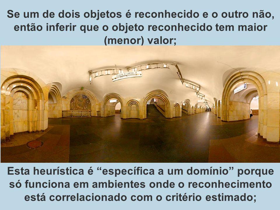 Se um de dois objetos é reconhecido e o outro não, então inferir que o objeto reconhecido tem maior (menor) valor;
