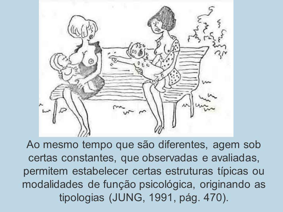 Ao mesmo tempo que são diferentes, agem sob certas constantes, que observadas e avaliadas, permitem estabelecer certas estruturas típicas ou modalidades de função psicológica, originando as tipologias (JUNG, 1991, pág.