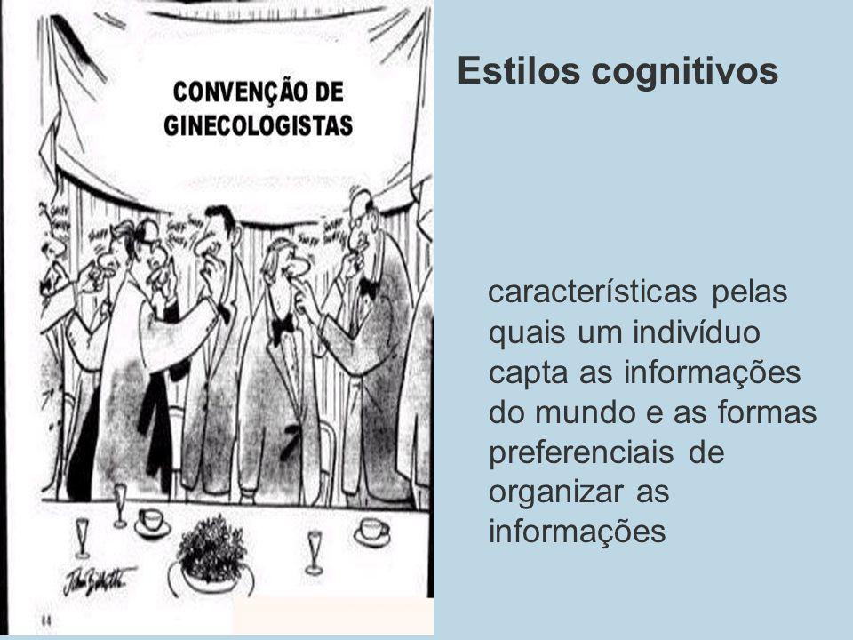 Estilos cognitivoscaracterísticas pelas quais um indivíduo capta as informações do mundo e as formas preferenciais de organizar as informações.