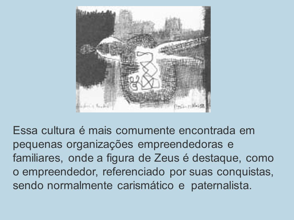 Essa cultura é mais comumente encontrada em pequenas organizações empreendedoras e familiares, onde a figura de Zeus é destaque, como o empreendedor, referenciado por suas conquistas, sendo normalmente carismático e paternalista.