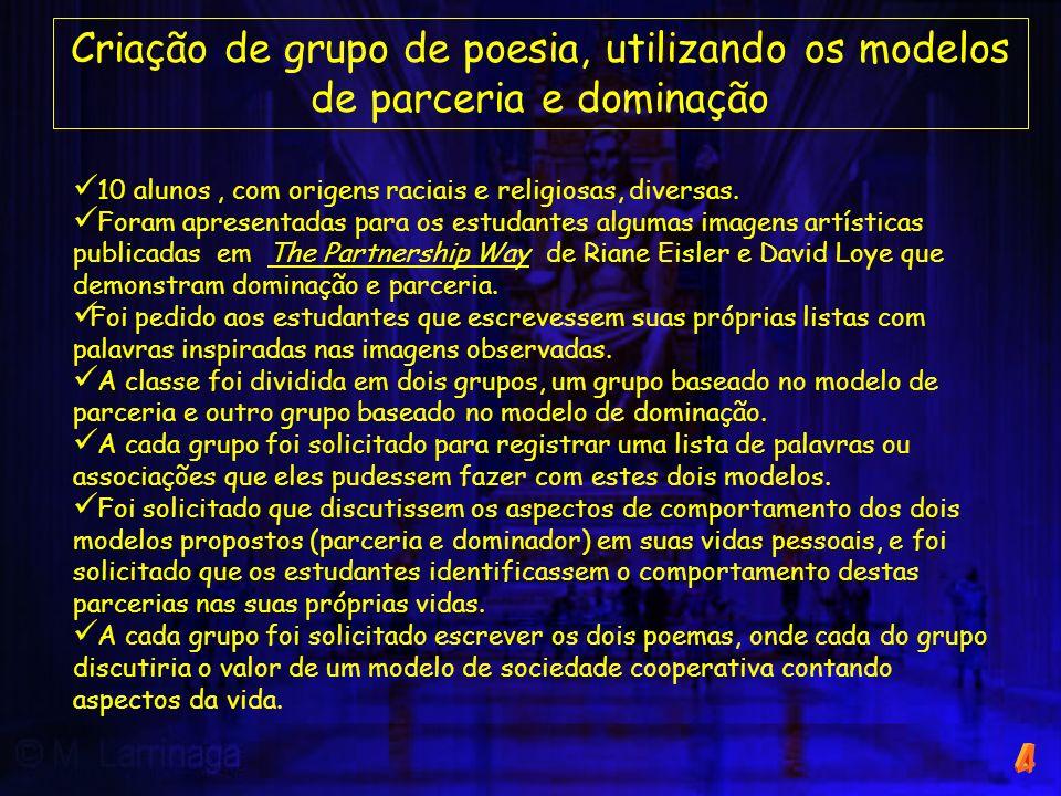 Criação de grupo de poesia, utilizando os modelos de parceria e dominação