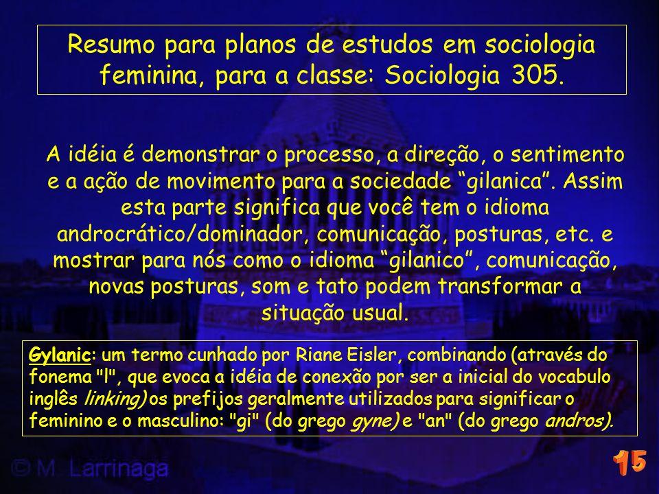 Resumo para planos de estudos em sociologia feminina, para a classe: Sociologia 305.