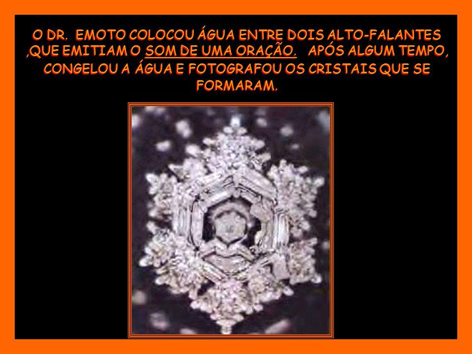 O DR. EMOTO COLOCOU ÁGUA ENTRE DOIS ALTO-FALANTES ,QUE EMITIAM O SOM DE UMA ORAÇÃO.