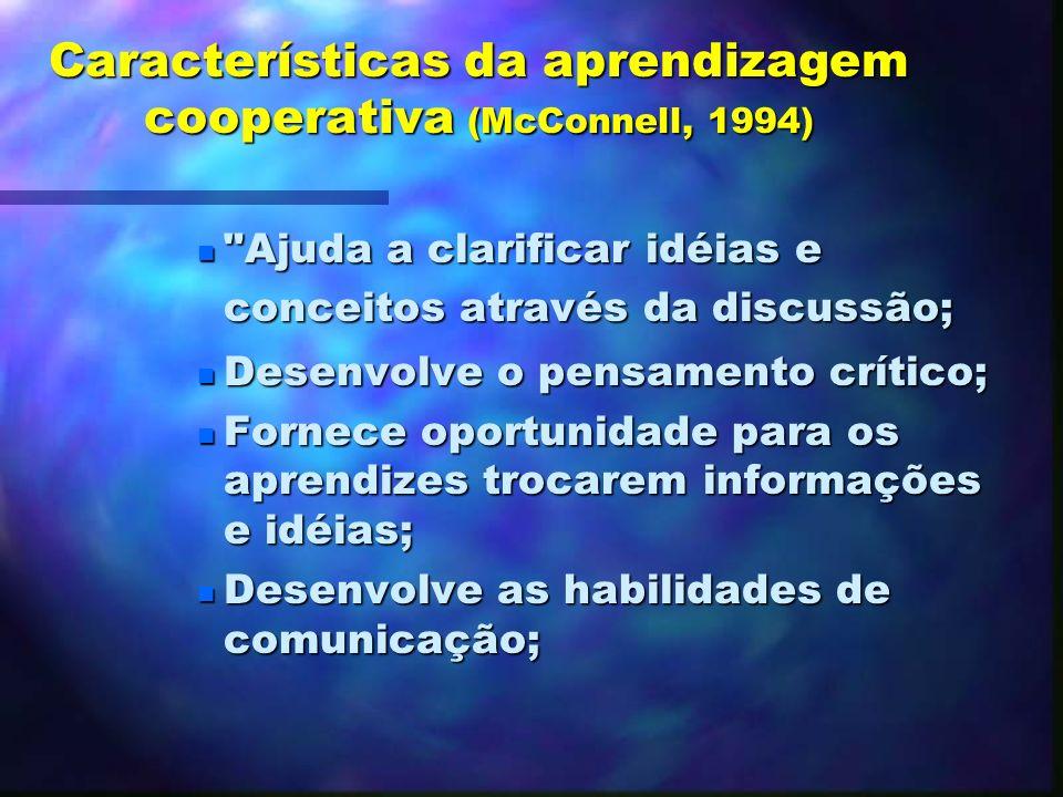 Características da aprendizagem cooperativa (McConnell, 1994)