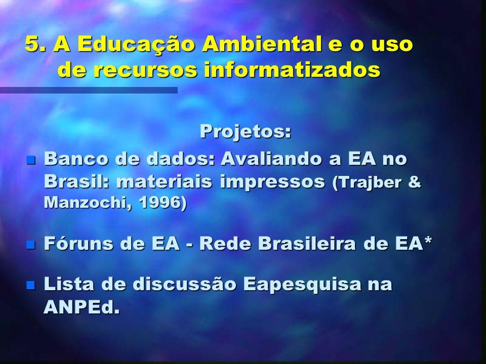 5. A Educação Ambiental e o uso de recursos informatizados