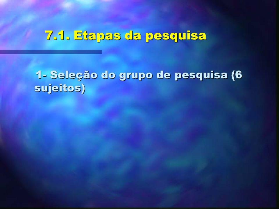 7.1. Etapas da pesquisa 1- Seleção do grupo de pesquisa (6 sujeitos)