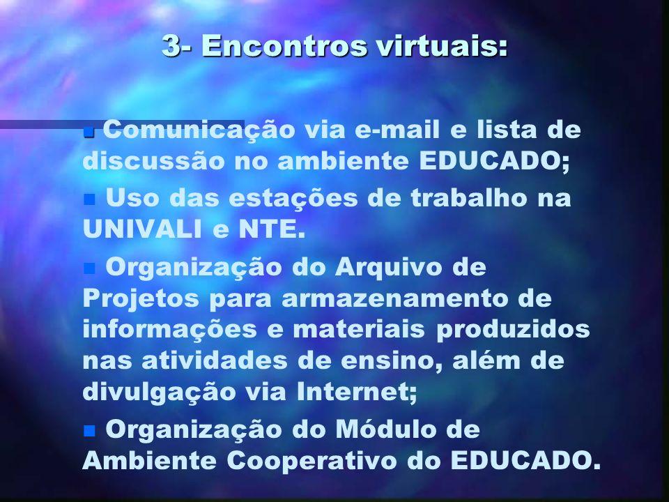 3- Encontros virtuais: Uso das estações de trabalho na UNIVALI e NTE.