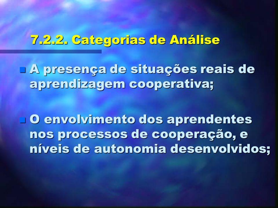 7.2.2. Categorias de Análise A presença de situações reais de aprendizagem cooperativa;
