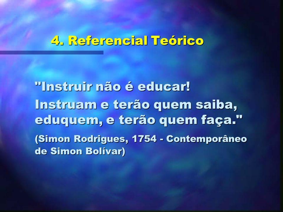 4. Referencial Teórico Instruir não é educar! Instruam e terão quem saiba, eduquem, e terão quem faça.