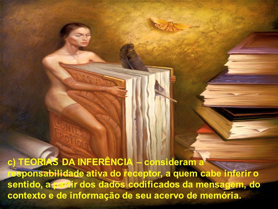 c) TEORIAS DA INFERÊNCIA – consideram a responsabilidade ativa do receptor, a quem cabe inferir o sentido, a partir dos dados codificados da mensagem, do contexto e de informação de seu acervo de memória.
