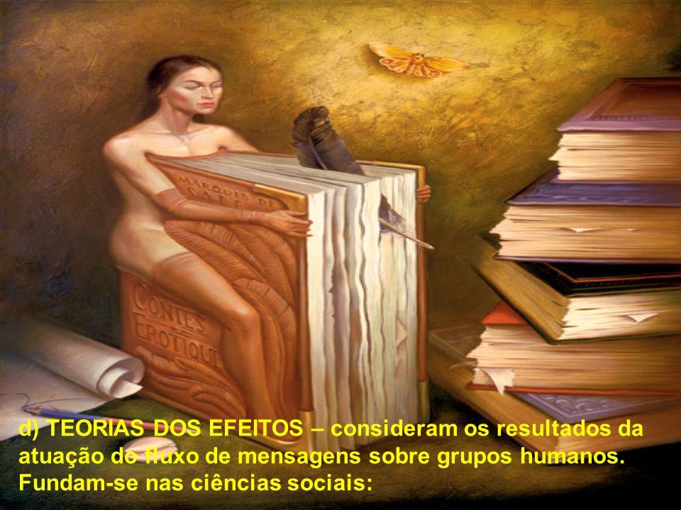 d) TEORIAS DOS EFEITOS – consideram os resultados da atuação do fluxo de mensagens sobre grupos humanos.