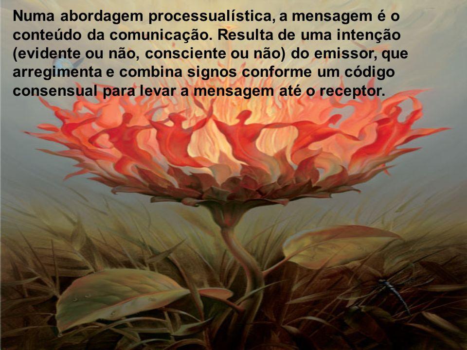 Numa abordagem processualística, a mensagem é o conteúdo da comunicação.