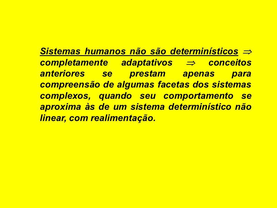 Sistemas humanos não são determinísticos  completamente adaptativos  conceitos anteriores se prestam apenas para compreensão de algumas facetas dos sistemas complexos, quando seu comportamento se aproxima às de um sistema determinístico não linear, com realimentação.