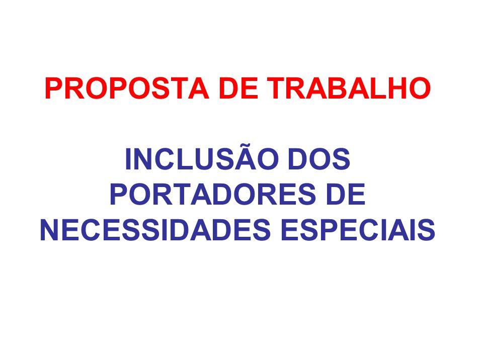 PROPOSTA DE TRABALHO INCLUSÃO DOS PORTADORES DE NECESSIDADES ESPECIAIS