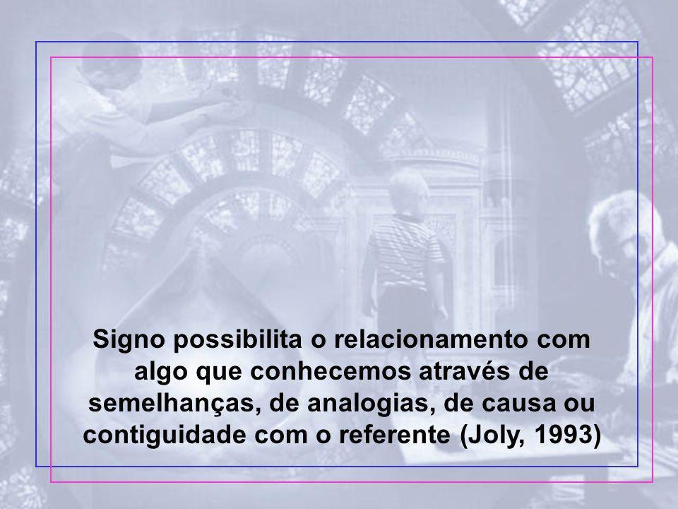 Signo possibilita o relacionamento com algo que conhecemos através de semelhanças, de analogias, de causa ou contiguidade com o referente (Joly, 1993)
