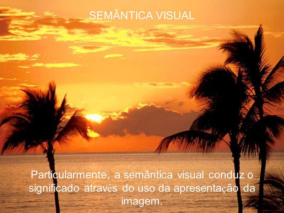 SEMÂNTICA VISUAL Particularmente, a semântica visual conduz o significado através do uso da apresentação da imagem.