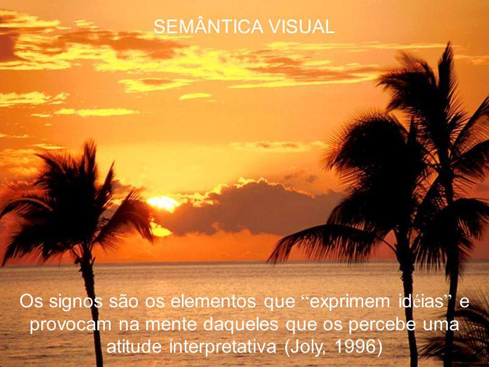 SEMÂNTICA VISUAL Os signos são os elementos que exprimem idéias e provocam na mente daqueles que os percebe uma atitude interpretativa (Joly, 1996)
