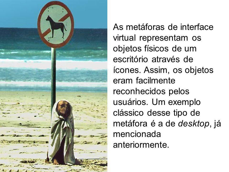 As metáforas de interface virtual representam os objetos físicos de um escritório através de ícones.