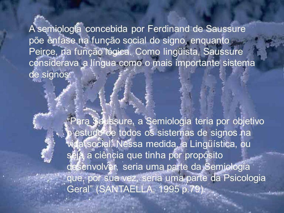 A semiologia concebida por Ferdinand de Saussure põe ênfase na função social do signo, enquanto Peirce, na função lógica. Como lingüista, Saussure considerava a língua como o mais importante sistema de signos.