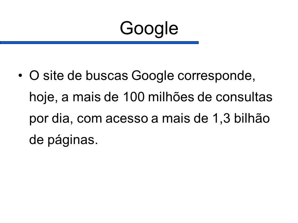 Google O site de buscas Google corresponde, hoje, a mais de 100 milhões de consultas por dia, com acesso a mais de 1,3 bilhão de páginas.