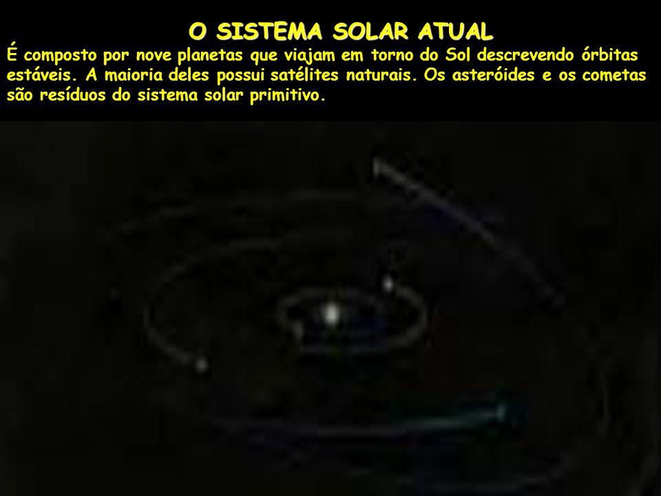 O SISTEMA SOLAR ATUAL É composto por nove planetas que viajam em torno do Sol descrevendo órbitas estáveis.