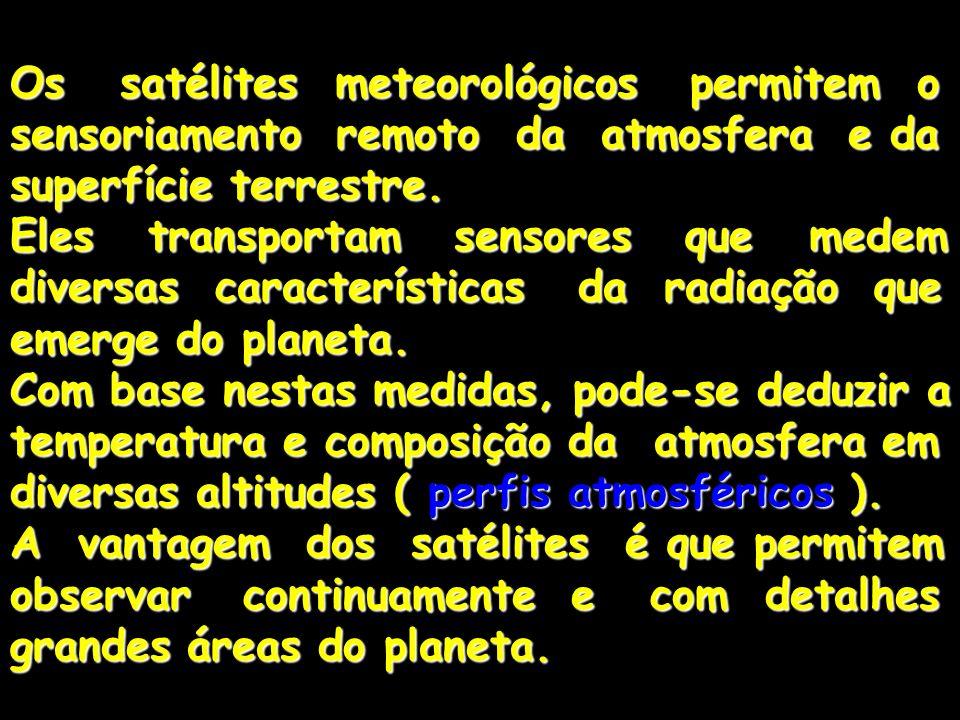 Os satélites meteorológicos permitem o sensoriamento remoto da atmosfera e da superfície terrestre.