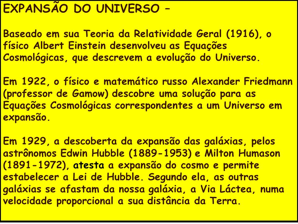 EXPANSÃO DO UNIVERSO –