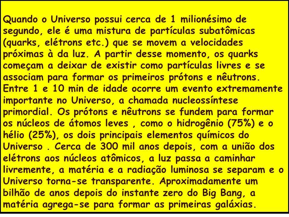 Quando o Universo possui cerca de 1 milionésimo de segundo, ele é uma mistura de partículas subatômicas (quarks, elétrons etc.) que se movem a velocidades próximas à da luz.