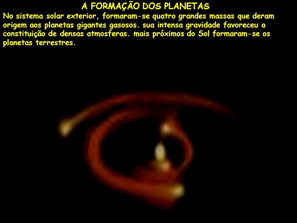 A FORMAÇÃO DOS PLANETAS No sistema solar exterior, formaram-se quatro grandes massas que deram origem aos planetas gigantes gasosos.