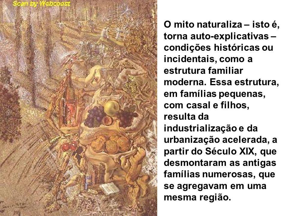 O mito naturaliza – isto é, torna auto-explicativas – condições históricas ou incidentais, como a estrutura familiar moderna.