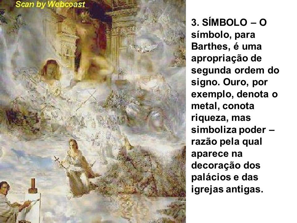 3. SÍMBOLO – O símbolo, para Barthes, é uma apropriação de segunda ordem do signo.